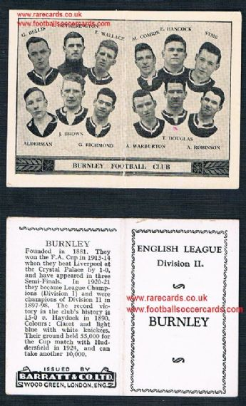 1934 Barratt English League Div 2 folder Burnley